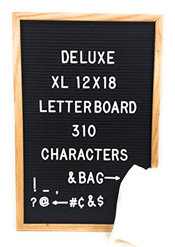 Black Felt Letter Board with 310 White Letters Number and Punctuation, Premium Solid Oak Frame Changeable Signs Letters Display Any Message, 12 x 18 Inches and Storage -