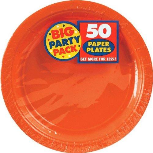 Review Of Amscan Orange Big Party Pack Dinner Plates (100 Count), 9-Inch, 1, orange