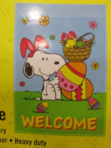 Peanuts Snoopy & Woodstocks .... WELCOME .... One Sided Easter Garden Flag (12