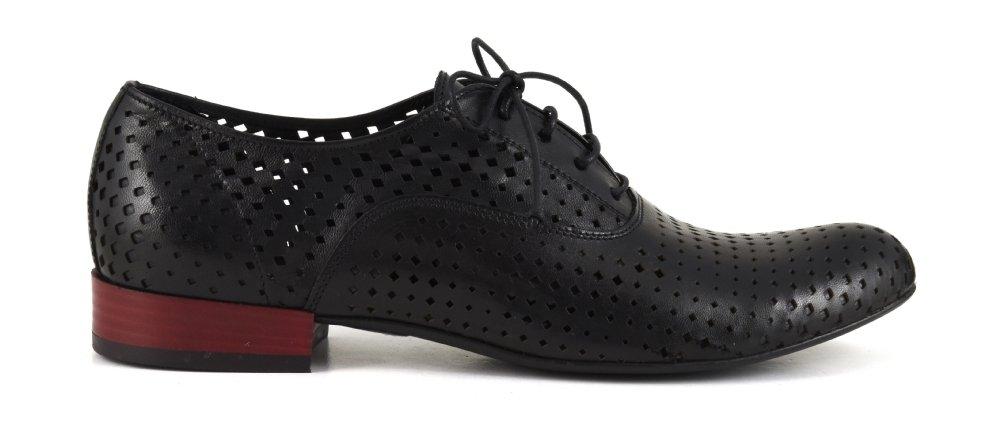 CAF Noir EB231 Chaussures Noires Femme Lacets en Cuir perforé Brogues 36 F506Y