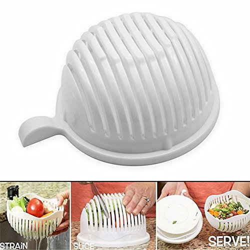 SuperStores 2017 Creative Portable Size Plastic 60 Seconds Salad Cutter Bowl Home Kitchen Fruit Vegetable Cutter Maker Quick Make (Bubble Mashine)