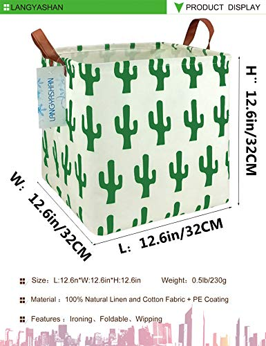 Square Storage Bins Waterproof Canvas Kids Laundry/Nursery Boxes for Shelves/Gift Baskets/Toy Organizer/Baby Room Decor(Green cactus)