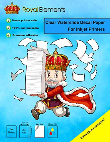 Royal Elements Waterslide Decal Paper - CLEAR for INKJET printers (20 Premium A4 Size Sheets) Plastic Inkjet Paper