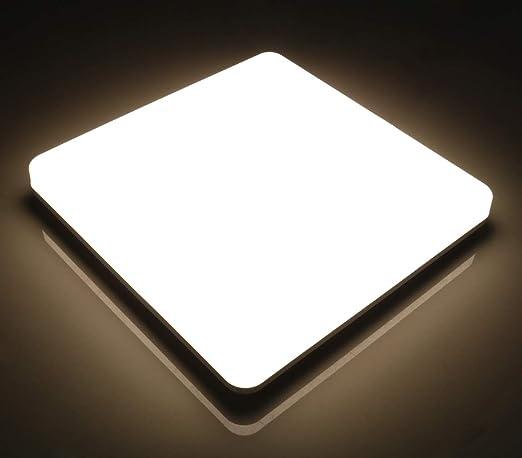 Lamker Plafones 24W Plafón baño LED Iluminación de Techo para Oficina de La Cocina Moderna Comedor de Energía Pasillo Lámpara Sala 2050LumensEstar de ...