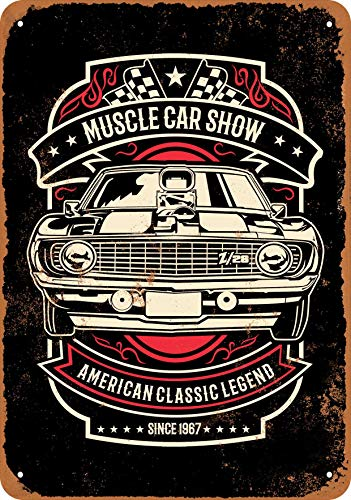 Wall-Color 7 x 10 Metal Sign - Muscle Car Show (Black Background) - Vintage Look
