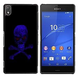 Planetar® ( Blue Skull Evil ) Sony Xperia Z3 D6603 / D6633 / D6643 / D6653 / D6616 Fundas Cover Cubre Hard Case Cover