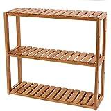 Songmics Adjustable Bamboo Rack Multifunctional Bathroom Kitchen Living Room Holder 3-Tier Utility Storage Shelf UBCB13Y