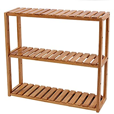 SONGMICS bamboo bathroom shelves, 3-Tier Adjustable Layer Rack, Bathroom Towel Shelf, Utility Storage Shelf Rack, Wall Mounted Organizer shelf, For Bathroom Kitchen Living Room Holder Natural UBCB13Y - MULTIFUNCTIONAL BAMBOO RACK: 100% natural bamboo,  and sturdy; 3 tiers bamboo rack & storage shelf for toiletries, towels, sundries, decorative things, knick knacks, shoes, books, plants, spice and small appliances in bathroom, living room, balcony, kitchen, etc. INNOVATIVE DESIGN: 3 removable shelves, 5 vertical positions to choose, adjustable design to meet the height of your items TWO METHODS OF USAGE: Wall Mounted or just standing by the wall, saving space and making your home neat and well-organized - shelves-cabinets, bathroom-fixtures-hardware, bathroom - 51EKSLjvnjL. SS400  -