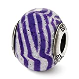 ICE CARATS 925 Sterling Silver Charm For Bracelet Italian Purple White Stripes Glass Bead Overlay Designed Glas Fine Jewelry Ideal Gifts For Women Gift Set From Heart