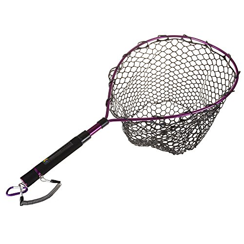 (Wakeman Outdoors Fishing Net with Magnetic Clip- Adjustable Landing Net with Corrosion Resistant Handle and Rubber Netting for Catch and Release)