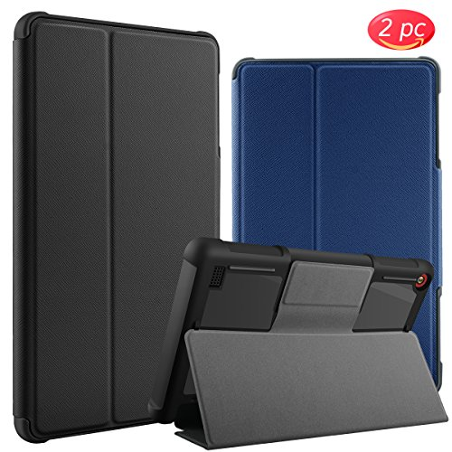 bepack All-New Amazon Fire 7 Case, Shockproof Anti-Scratch Protective Shell Slim Folding Stand Leather Cases with Auto Wake/Sleep for Fire 7 Tablet Kids(7th Generation, 2017 Release) by bepack