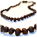 The Art of CureTM *SAFETY KNOTTED* Raw Black Cherry -(Unisex)- Certified Baltic Amber Baby Teething Necklace Highest Quality Guaranteed-Anti Flammatory, Drooling & Teething Pain. Easy to Fastens with a Twist-in Screw Clasp Mothers Approved Remedies!