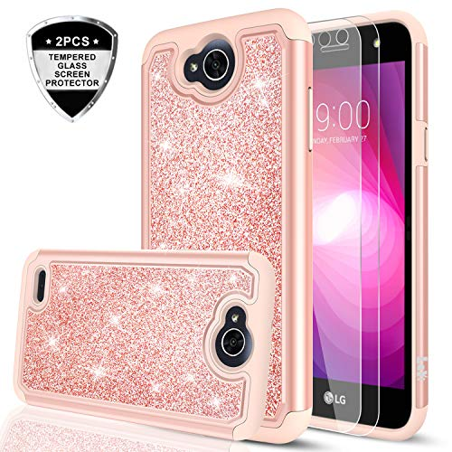 LG XPower 2 / X Charge/Fiesta LTE/Fiesta 2 / LV7 / K10 Power Case with 2ps Tempered Glass Screen Protector, LeYi Glitter Bling Girls Women Heavy Duty Phone Case for LG X Power 2 TP Rose Gold
