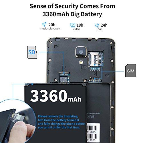 Unlocked Smartphones, DOOGEE X10 GSM International Phone - 5.0 IPS Display - Android 6.0 - 8GB ROM - 2MP+5MP Dual Camera - 3360mAh Battery - Dual Sim Unlocked Cell Phones - Gold(no ads)