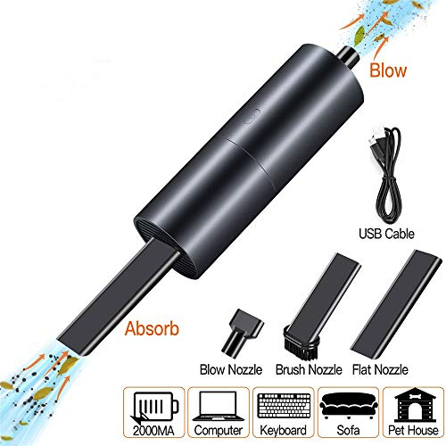 EMHFLYFN Mini Vacuum Cleaner, Cordless Keyboard Vacuum Cleaner, USB Rechargeable Lithium Battery Mini Handheld Vacuum Sucking and Blowing Cleaner for Home and Office
