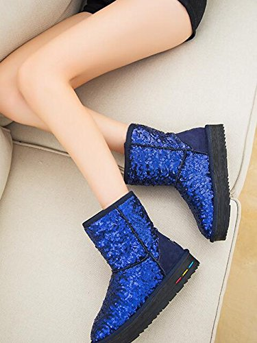 Aksautoparts winter Snow boots women Warm boots In tube Sequin casual shoes boots flat Blue DPSX9cZ