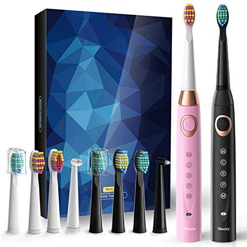 2 Sonic Electric Toothbrushes 5 Modes 8 Brush Heads USB Fast Charge Powered Toothbrush Last for 30 Days, Built-in Smart…