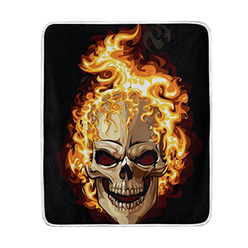 U LIFE Creative Spooky Happy Halloween Skull Fire Soft Fleece Throw Blanket Blankets for Nap Couch Bed Kids Adults 50 x 60 inch ()