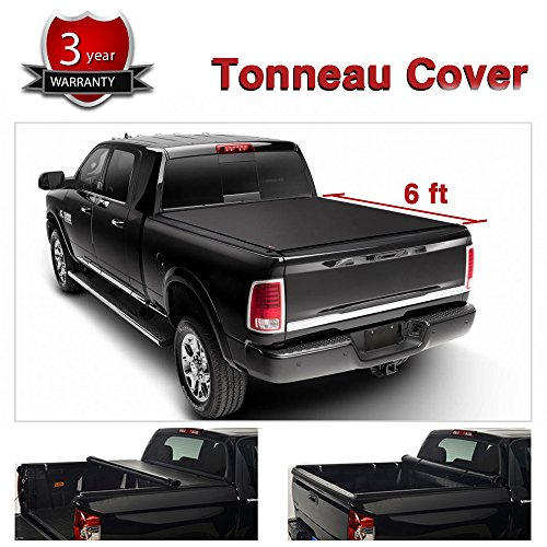Alxiang 1pc Black Vinyl Clamp On Soft Lock & Roll-up Top Mount Tonneau Cover Assembly w/ Rails+Mounting Hardware Fit 82-93 Chevy S10/GMC S15/Sonoma Pickup 6ft Fleetside ()