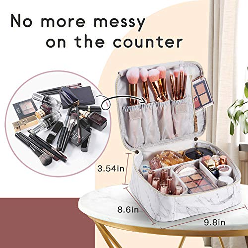 Stagiant Marble Leather Makeup Bag Train Case Portable Travel Makeup Case Storage PU Leather Cosmetic Organizer for Girl Cosmetic Make Up Tools Toiletry Jewelry Digital Accessories - White Marble