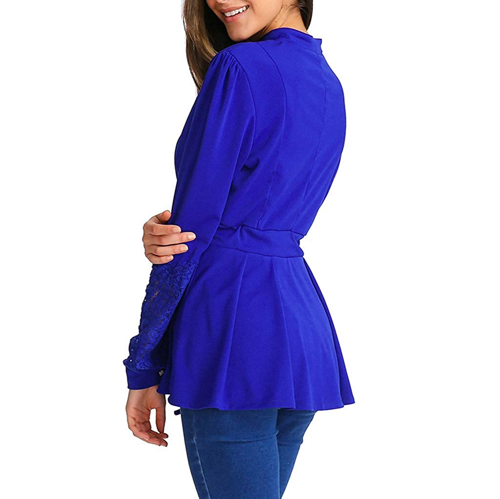 Highpot Womens Lace Floral Long Sleeve Shirts Button Pleated Casual Tunic Tops