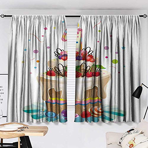 1st Birthday Curtain Living Room Baby First Party Festive Cake with Forest Fruits and Candlestick Image Print Decor Darkening Curtains Multicolor W55 x L39 by Jinguizi (Image #1)