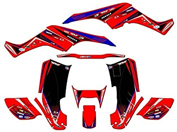 Surge Red Graphics Kit with blank number plates Senge Graphics Kit Compatible with Honda 2001-2005 TRX 250EX