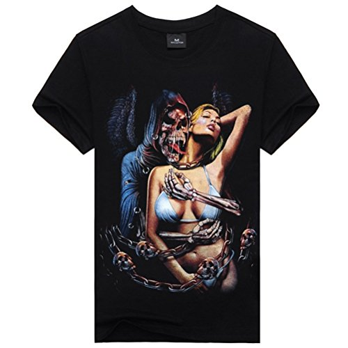 [Sexy Girl&Devil Skull Graphic Tee For Mens Cool Black Casual Summer Tee XL] (Devil Costums)