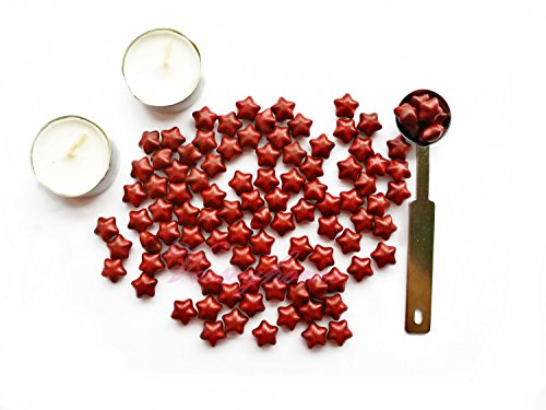 VOOSEYHOME Star Shaped Sealing Wax Beads Kit 100pcs Burgundy Star Beads Mealting Spoon and 2 Tea Candles, for Wax Seal Stamps