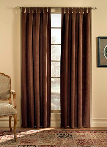 CHF & You Ultra Suede Tab Top Window Curtain Panel, Brown, 50-Inch X 84-Inch