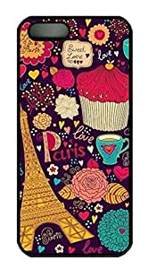 Rubber Back and DIY Case Cover For iPhone 5C Custom Soft TPU Single Shell Skin For iPhone 5C-Colorful Paris Pattern