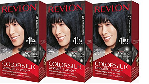 Revlon Colorsilk Beautiful Color, Natural Blue Black [12] 1 ea (Pack of 3)