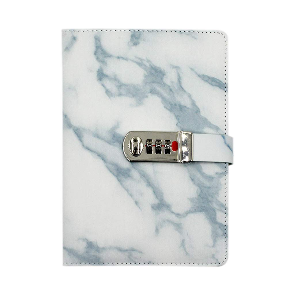 Eilova Marble Pattern PU Leather Travel Journal Diary Personal Writing Notebooks Daily Business Planner Notepad with Combination Lock(A5 Size,100 Sheets of Ruled Paper)