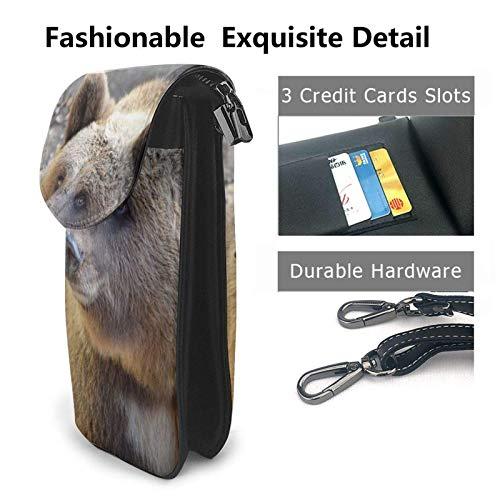 HYJUK Mobiltelefon crossbody väska björn kvinnor PU-läder mode handväska med justerbar rem
