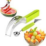 X-Chef Watermelon Slicer Fruit Slicer Corer Server with Fruit Baller and Carving Knife