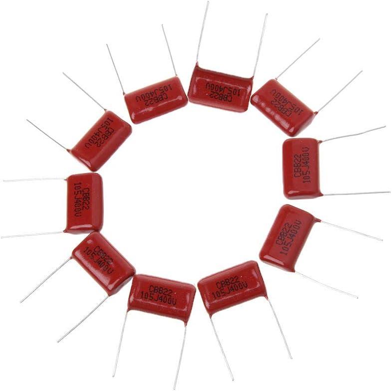 FangWWW CBB22 105j Condensadores de pel/ícula met/álica 10 unidades, 400 V, 1UF, P20mm