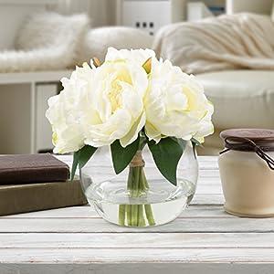 Pure Garden 50-199 Silk Floral Arrangement, Cream 33
