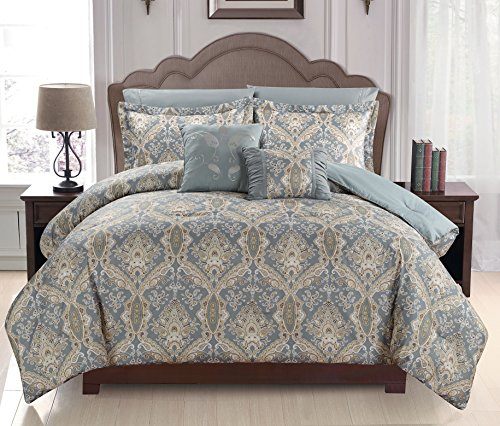 Peach Couture Home Collection Royal Boho Reversible 7 Piece Comforter Set, Light Gray, King New Couture Collection