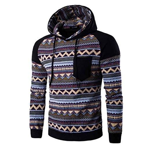 WOCACHI Herren Kapuzenpullover Männer Bohemian Retro Langarm Kapuzenshirt gut aussehend mit Kapuze Sweatshirt Tops Jacken Mantel Outwear (XL, Black)