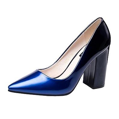 ede76d1c43 Amazon.com | Binying Women's Pointed-Toe Block Heel Slip-on Court ...