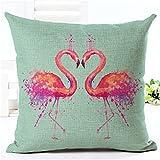 Best Cotton Pillow With Flamingos - Yunko Red Flamingo Series Cotton Linen Square Pillowcase Review