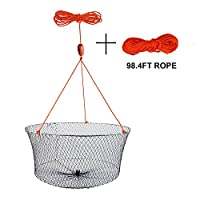 Goture Double Ring Crab Lobster Hoop Net Fishing Bait Trap Diameter 23.6''X19.7'' Or 22''X13.8'' Net Depth 10.24'' Or 15.75'' Lightweight Net With 98.4' Rope