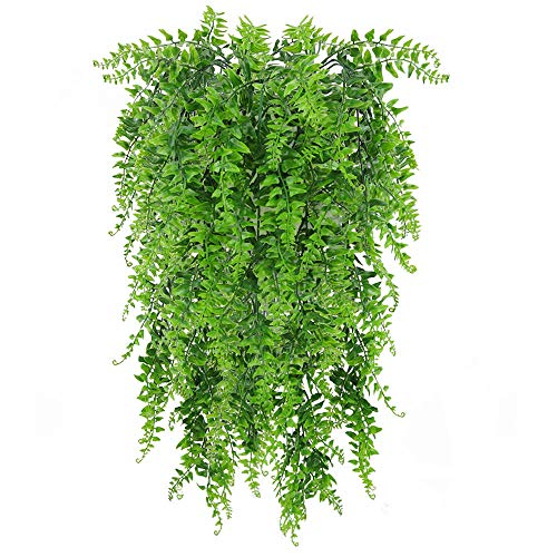 (Zpollo 2 Pack Artificial Plants Vines Fake Hanging Ivy Decor Plastic Greenery for Wall Indoor Outdoor Hanging Baskets Wedding Garland Decor)