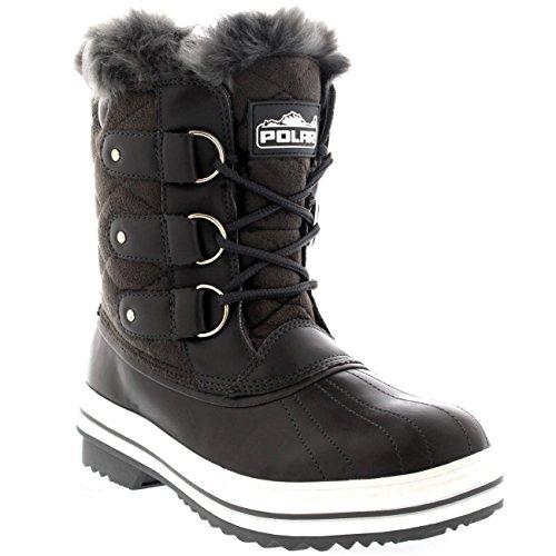 Polar Produkte Damen Schneestiefel gesteppte kurze Winter Schnee Regen warme wasserdichte Stiefel Graues Wildleder