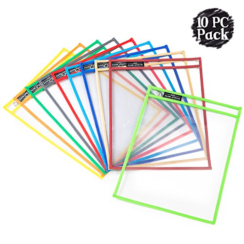 Dry Erase Pockets - Reusable + Oversized - Size 10 X 13 Inches - 10 Pockets for Adults and Children - Mixed Colors - Ideal to use at School or at Work -