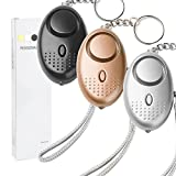 3 Pack Emergency Personal Security Alarm Keychain 140DB with LED Light, Electronic Self-Defense Protection Safety Alarms Super Loud Mini Police Approved Rape Attack Alarms Siren for Women Kids Girls.