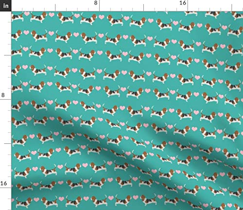 Spoonflower Basset Hound Fabric - Basset Basset Hound Basset Love Dog Dogs Dog Pet Portrait Gift by Petfriendly Printed on Fleece Fabric by The - Fleece Hound Basset