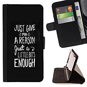 BullDog Case - FOR/Apple Iphone 5 / 5S / - / motivational black white text reason /- Monedero de cuero de la PU Llevar cubierta de la caja con el ID Credit Card Slots Flip funda de cuer