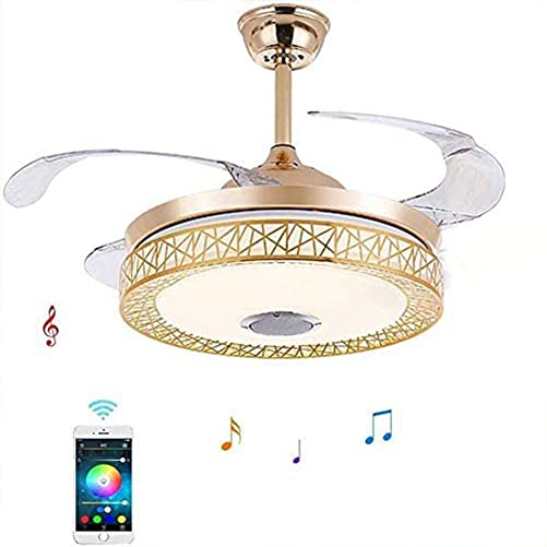 42 Bluetooth Music Birdcage Ceiling Fan Light Fan Chandelier with Remote Control retractable-blade Dimmable LED Fandelier Lamp Bedroom Living Room Kitchen Dinning Room Gold
