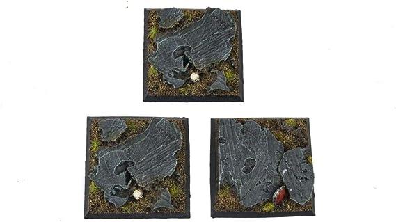 War World Gaming Fantasy Battlefield - Peanas Cuadradas de Rocas x 3 (50mm) - 28mm Wargaming Diorama Miniaturas Batalla Medieval Edad Media Maqueta Wargame: Amazon.es: Juguetes y juegos
